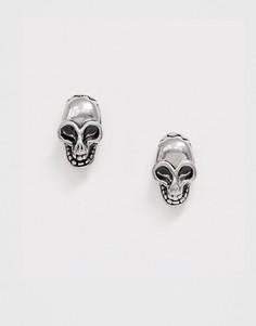 Серебристые серьги-гвоздики в виде черепов Seven London-Серебряный