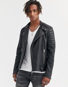 Черная кожаная байкерская куртка AllSaints Jasper-Черный