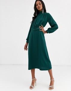 Зеленое платье миди с высоким воротником и поясом Closet London - (forest)-Зеленый