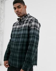 Рубашка в клетку с эффектом омбре и необработанным краем Good For Nothing-Черный
