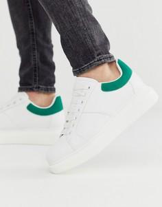 Белые кроссовки с зелеными вставками на толстой подошве Loyalty & Faith-Белый