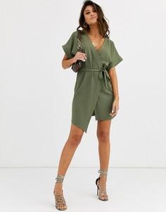 Платье мини с запахом ASOS DESIGN-Зеленый