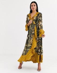 Черное атласное платье макси в горошек с принтом цепочки Forever U-Мульти