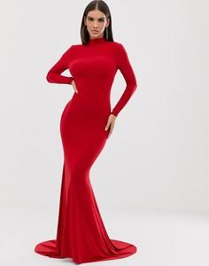Красное платье макси с длинными рукавами и открытой спиной Club L-Красный