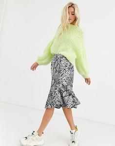 Асимметричная юбка со змеиным принтом Kaffe-Мульти