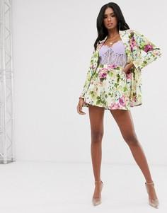 Трикотажные шорты от костюма с цветочным принтом ASOS DESIGN-Мульти