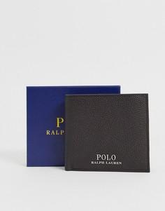 Коричневый кожаный складной бумажник Polo Ralph Lauren