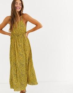 Платье миди на бретельках с цветочным принтомLostInk-Желтый