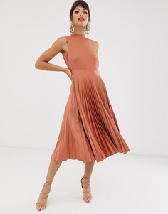 Платье миди с плиссированной юбкой Closet-Коричневый