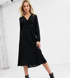 Черное платье миди с запахом и длинными рукавами New Look-Черный