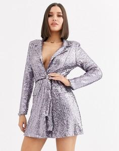 Платье под смокинг с пайетками и поясом Club L London-Серый