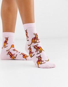 Розовые новогодние носки до щиколотки с принтом кенгуру ASOS DESIGN-Розовый