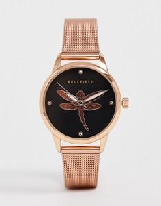 Женские часы с сетчатым браслетом цвета розового золота с отделкой Bellfield-Розовый