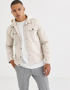 Джинсовая куртка с капюшоном Brave Soul-Кремовый