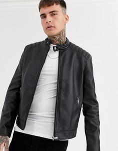 Байкерская куртка из искусственной кожи Celio-Черный