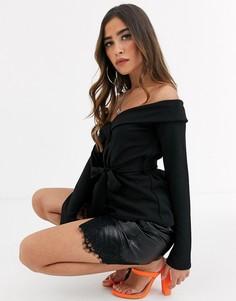 Черный топ-пиджак из крепа с отрытыми плечами Missguided