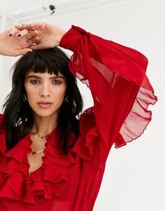 Красная блузка с оборками Topshop-Красный