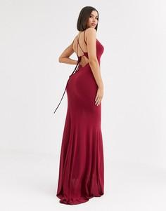 Платье макси малинового цвета с глубоким вырезом Club L London-Красный