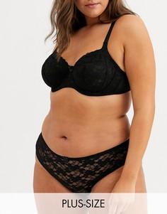Черные кружевные бразильские трусы New Look Curve essentials-Черный