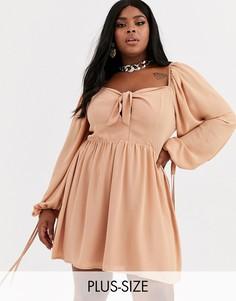 Платье мини с квадратным вырезом Missguided Plus-Розовый