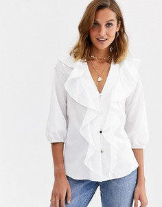 Белая блузка с оборками River Island-Белый