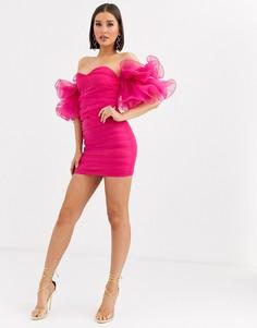 Платье мини цвета фуксии с открытыми плечами и объемными рукавами-оборками Club L London-Розовый