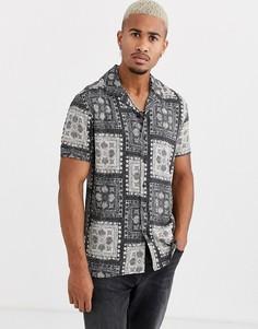 Черная рубашка с короткими рукавами и принтом Only & Sons-Черный