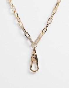 Золотистое ожерелье-цепочка с подвеской с кристаллами ASOS DESIGN-Золотой