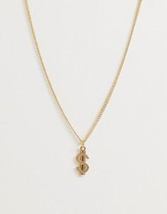 Золотистая цепочка с подвеской в виде знака доллара ASOS DESIGN-Золотой