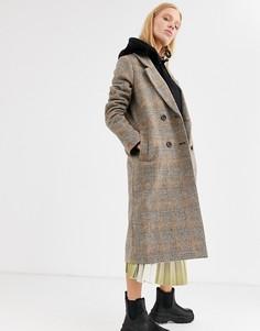 Коричневое пальто в клетку Monki-Коричневый