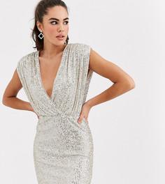 Серебристое платье мини с запахом и пайетками TFNC-Серебряный