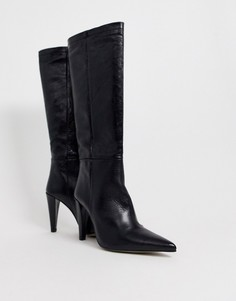 Черные ботфорты на коническом каблуке Topshop-Черный