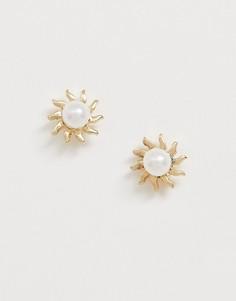 Серьги-гвоздики с искусственным жемчугом Pieces-Золотой