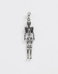 Серебристые серьги-подвески с элементами в виде черепов Reclaimed Vintage inspired эксклюзивно для ASOS-Серебряный