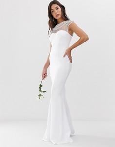 Свадебное платье макси с короткими рукавами, подолом годе и отделкой City Goddess-Белый