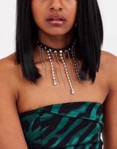 Серебристое ожерелье-чокер с отделкой камнями ASOS DESIGN-Серебряный