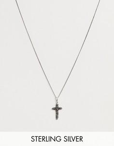 Серебряное ожерелье-цепочка с фактурной подвеской-крестом ASOS DESIGN-Серебряный