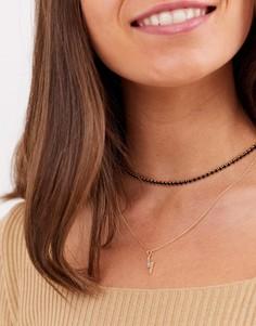 Золотистое ожерелье-чокер в несколько рядов с синими кристаллами и подвеской в виде молнии ASOS DESIGN-Золотой
