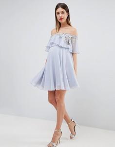 Платье-бандо мини с кроп-топом и отделкой ASOS DESIGN Maternity-Мульти