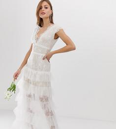 Эксклюзивное ярусное свадебное платье Bronx & Banco-Белый