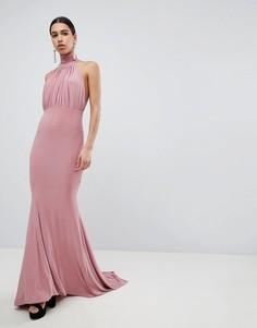 Платье макси с халтером и юбкой годе Club L Bridesmaid-Розовый