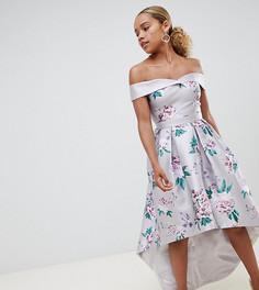 Платье миди бандо с принтом Chi Chi London Petite-Мульти