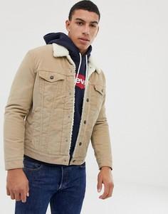 Бежевая вельветовая куртка с меховым воротником и подкладкой Levis-Бежевый