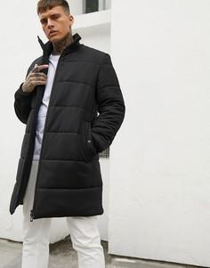 Черная длинная дутая куртка с добавлением шерсти и логотипом на спине HUGO Magnus-Черный