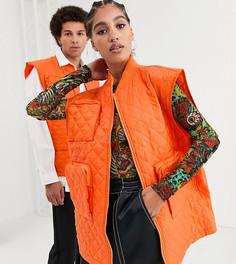 Оранжевая стеганая куртка без рукавов COLLUSION Unisex-Оранжевый