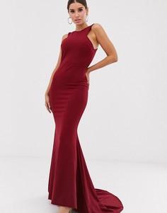 Платье макси с вырезами и юбкой годе Club L London-Красный