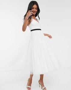 Платье миди с контрастным поясом и бантом Needle & Thread-Белый