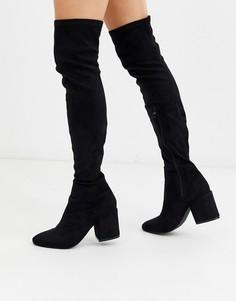 Черные ботфорты с круглым носком RAID Kola-Черный
