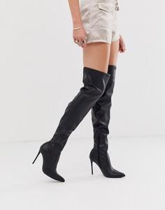 Черные ботфорты на каблуке из искусственной кожи Truffle Collection-Черный