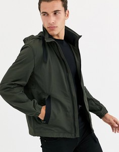 Непромокаемая куртка цвета хаки с прорезиненным логотипом BOSS Ovodo-Зеленый